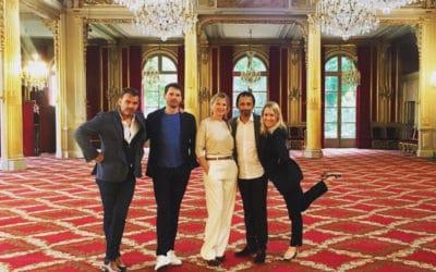"""L'équipe du film """"Les Chatouilles"""" était à l'Elysée hier."""